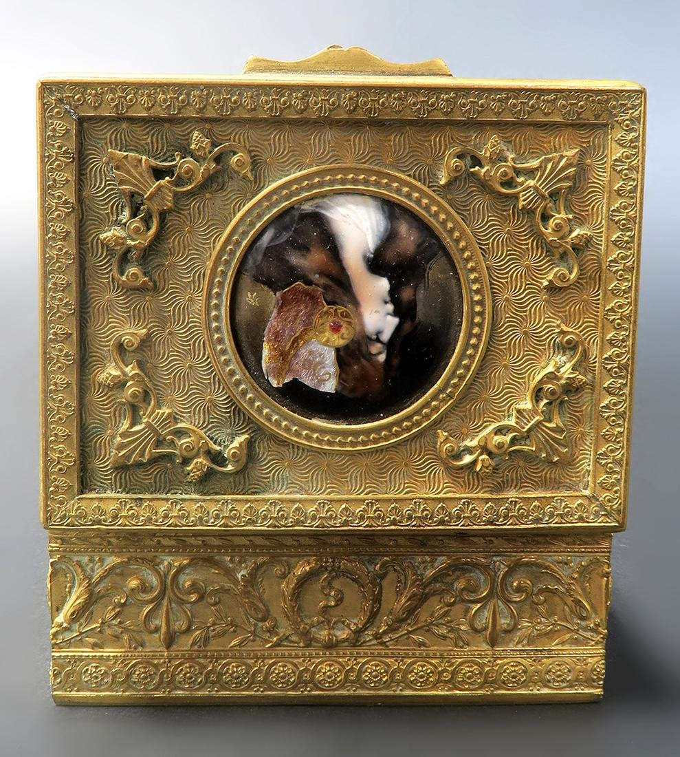 French Bronze Jewelry Box with Enamel Plaque. 19th C. - 3
