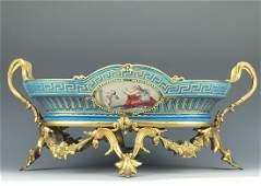 Magnificent Turquoise Blue Sevres Centerpiece