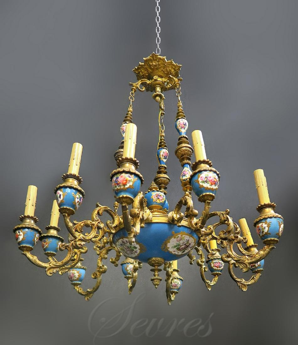 19th C. French Bronze & Sevres Chandelier