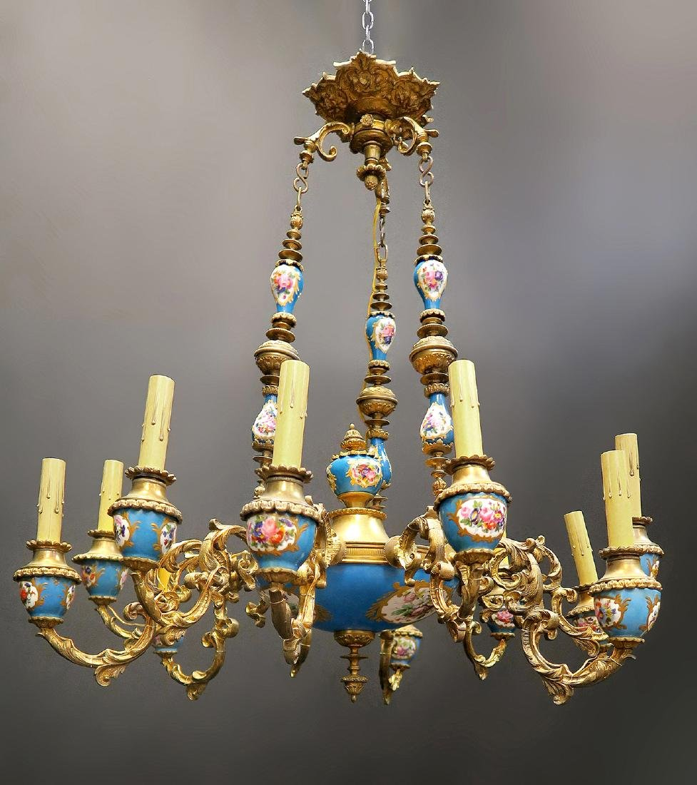 19th C. French Bronze & Sevres Chandelier - 2