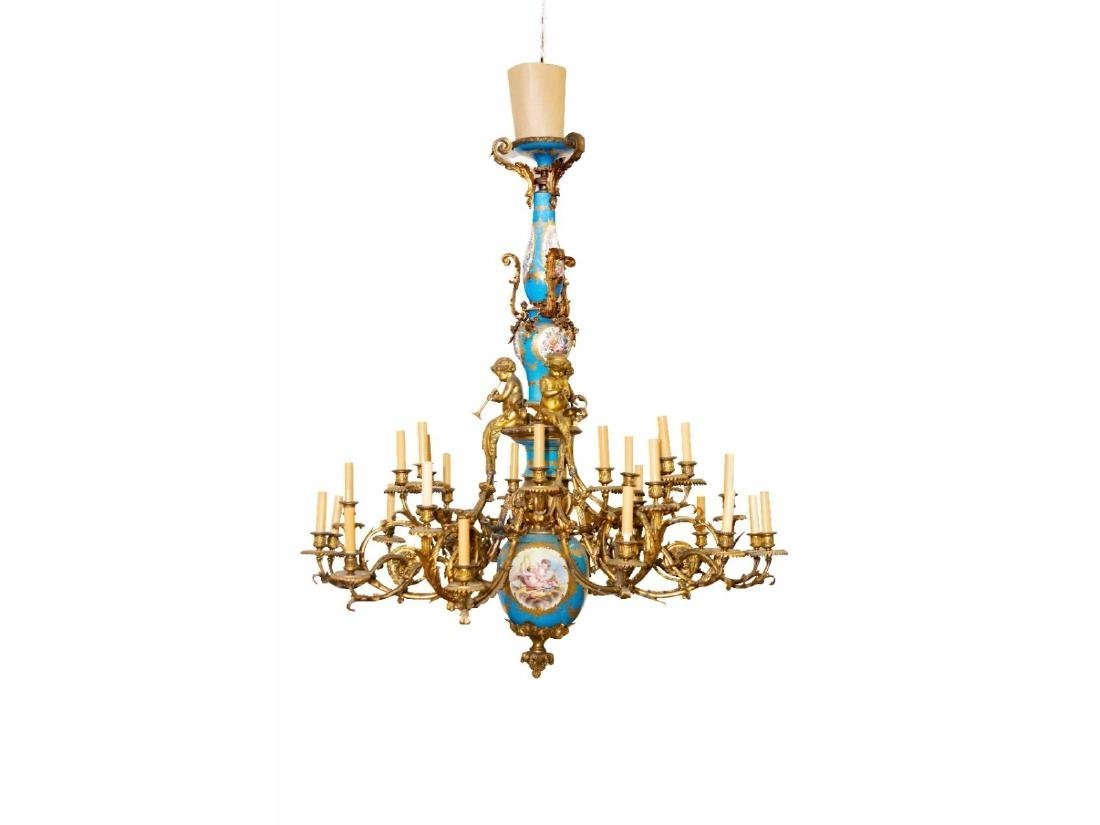 A Large Louis XV Style Sevres Chandelier