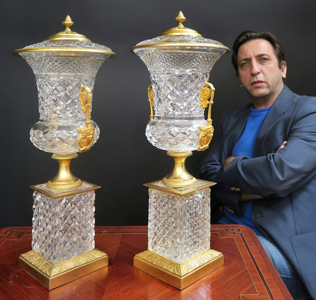 Large 19th C. French Bronze & Baccarat Crystal Vases