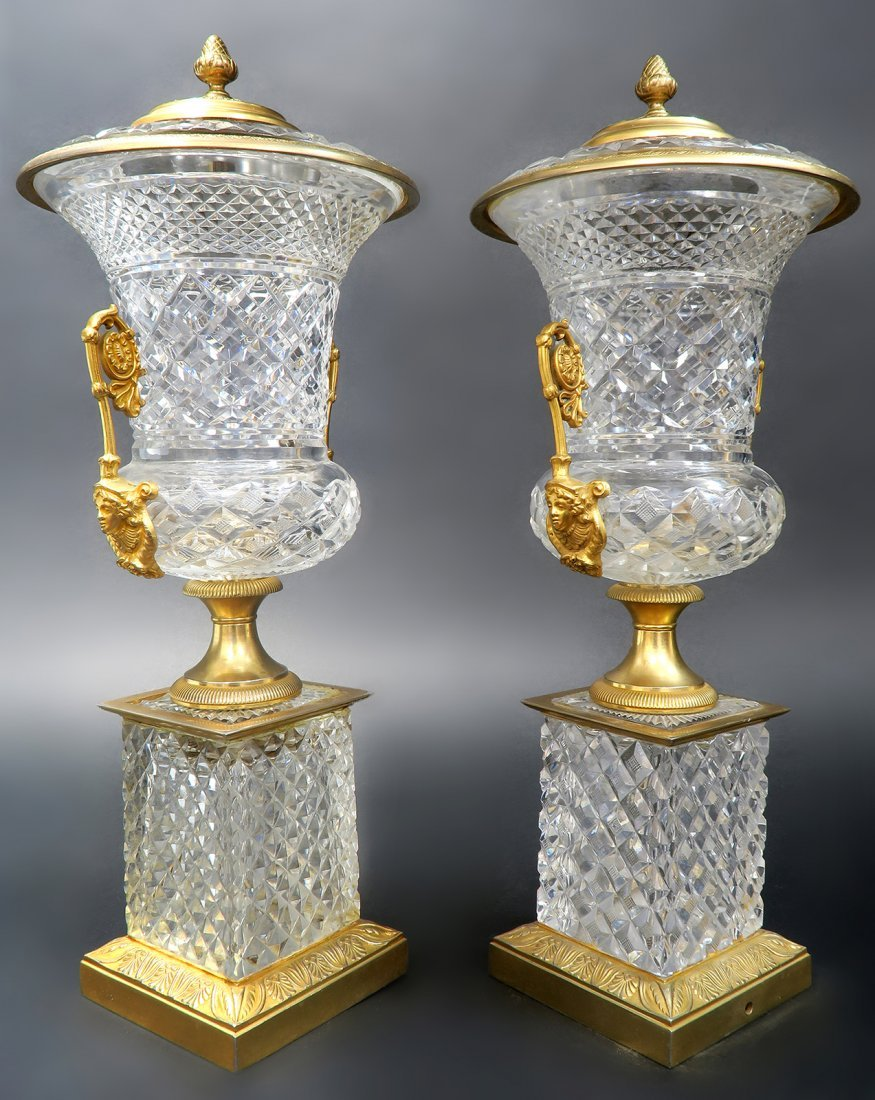 Large 19th C. French Bronze & Baccarat Crystal Vases - 2