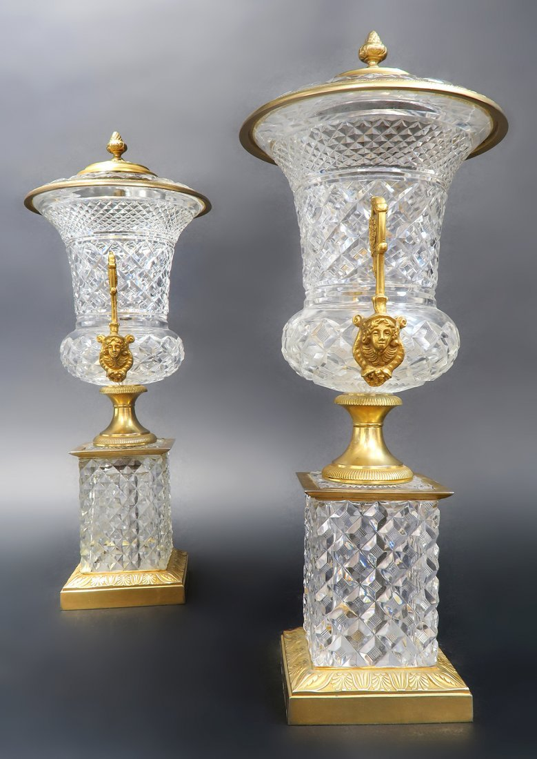 Large 19th C. French Bronze & Baccarat Crystal Vases - 3