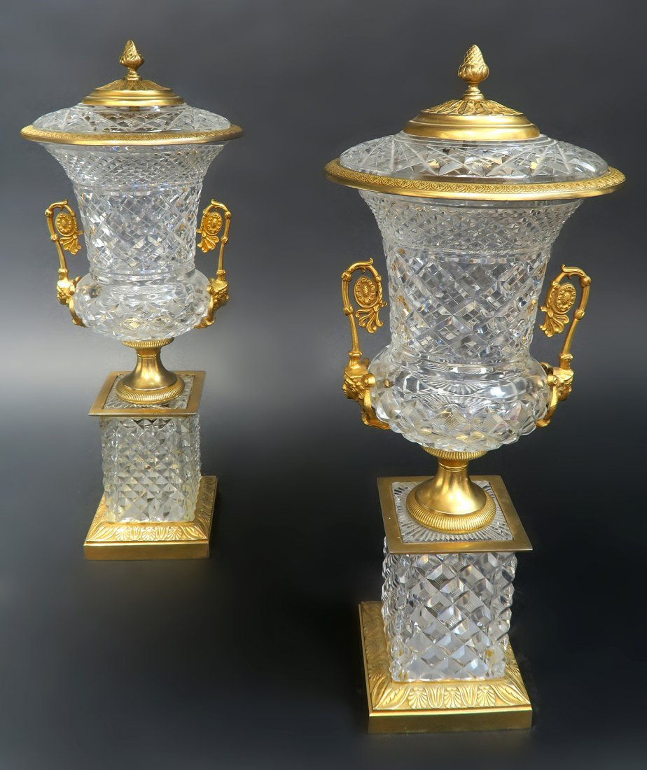 Large 19th C. French Bronze & Baccarat Crystal Vases - 4