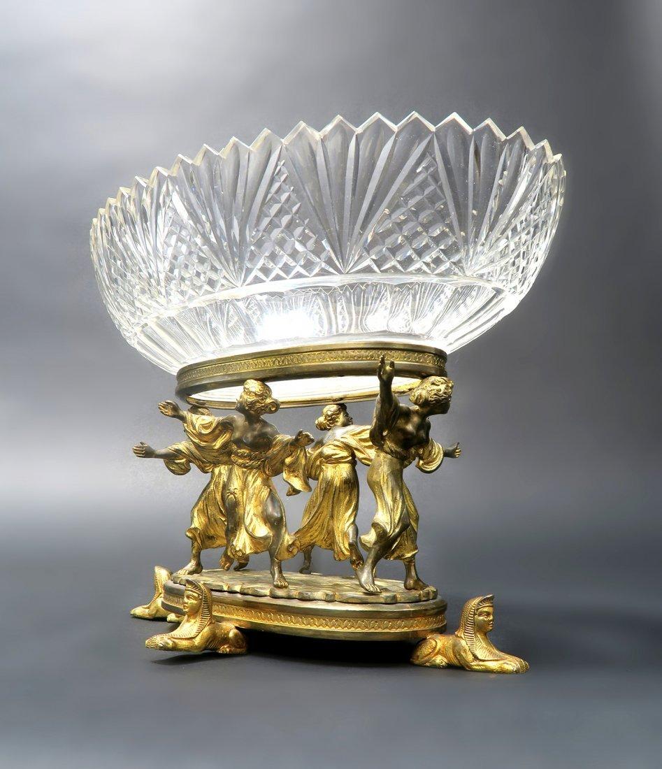 Beautiful Figural Bronze & Baccarat Crystal Centerpiece - 2