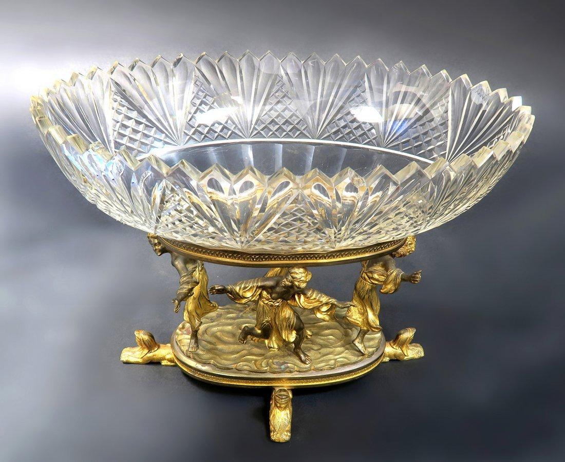 Beautiful Figural Bronze & Baccarat Crystal Centerpiece - 3
