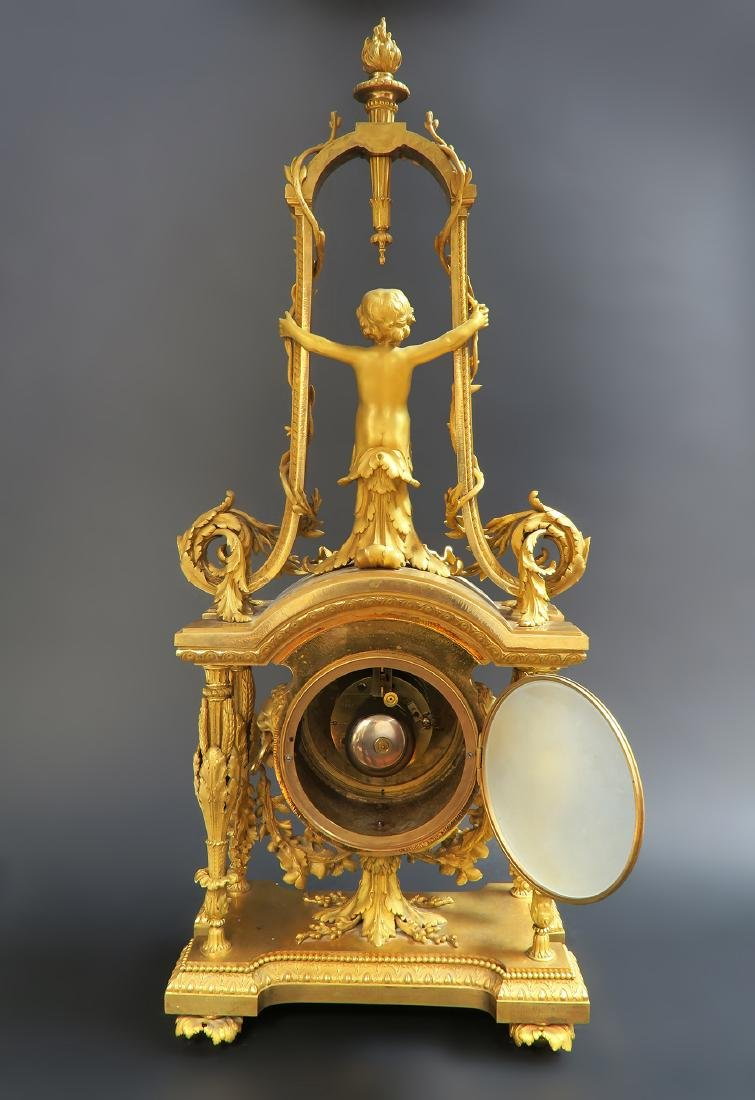 Monumental Mercury Gilt Bronze Figural Clock Set - 10