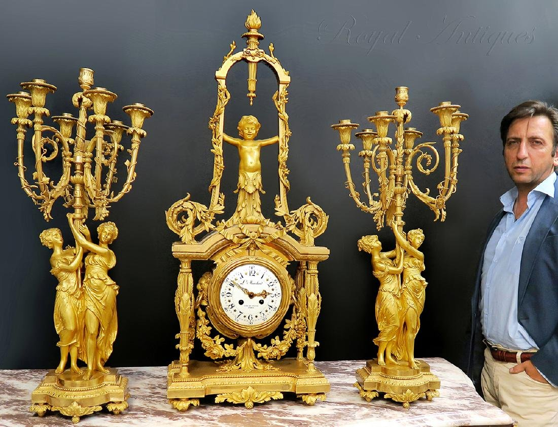 Monumental Mercury Gilt Bronze Figural Clock Set