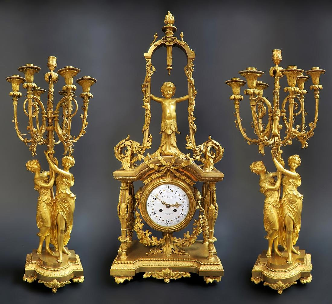 Monumental Mercury Gilt Bronze Figural Clock Set - 2