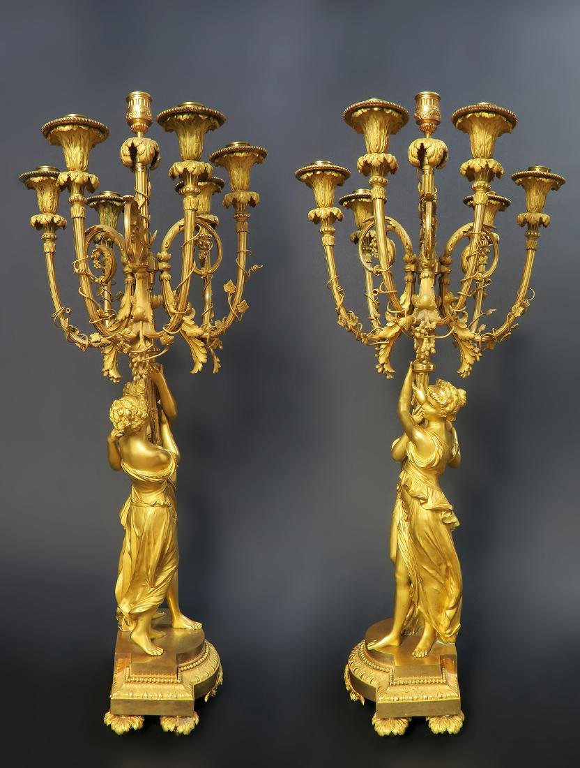Monumental Mercury Gilt Bronze Figural Clock Set - 4