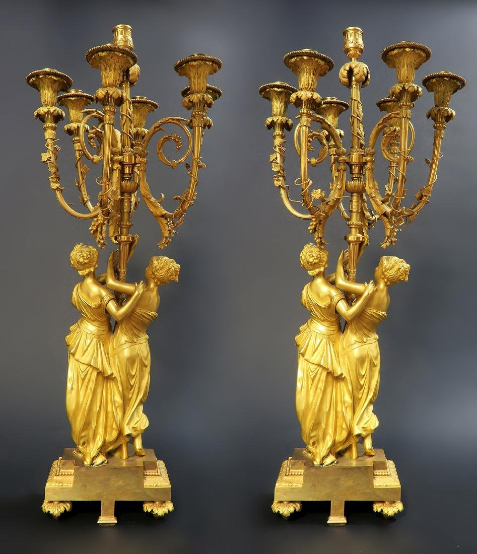 Monumental Mercury Gilt Bronze Figural Clock Set - 5