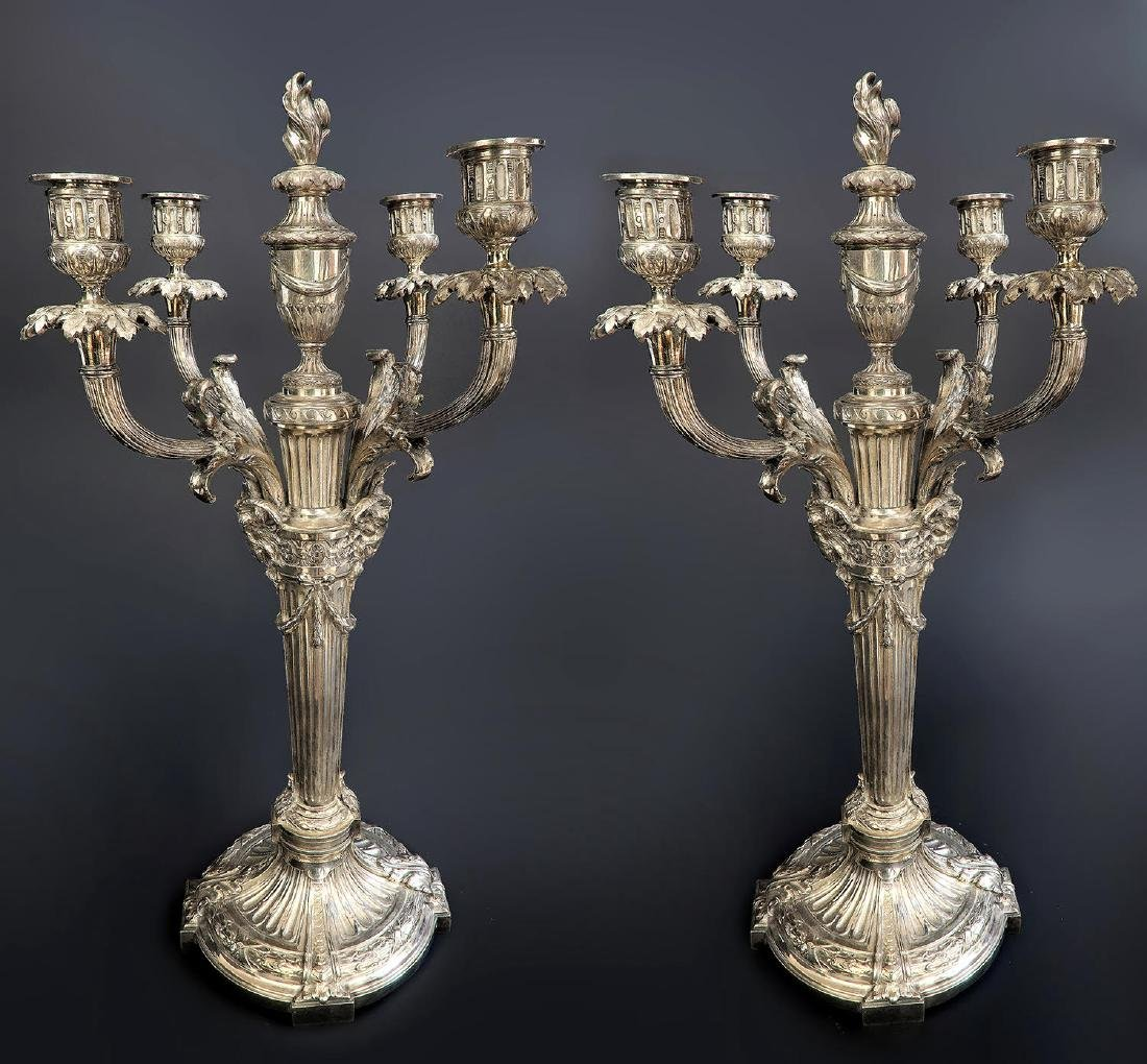 Pair of 19th C. Silver-Plated 20'' Candelabras - 2