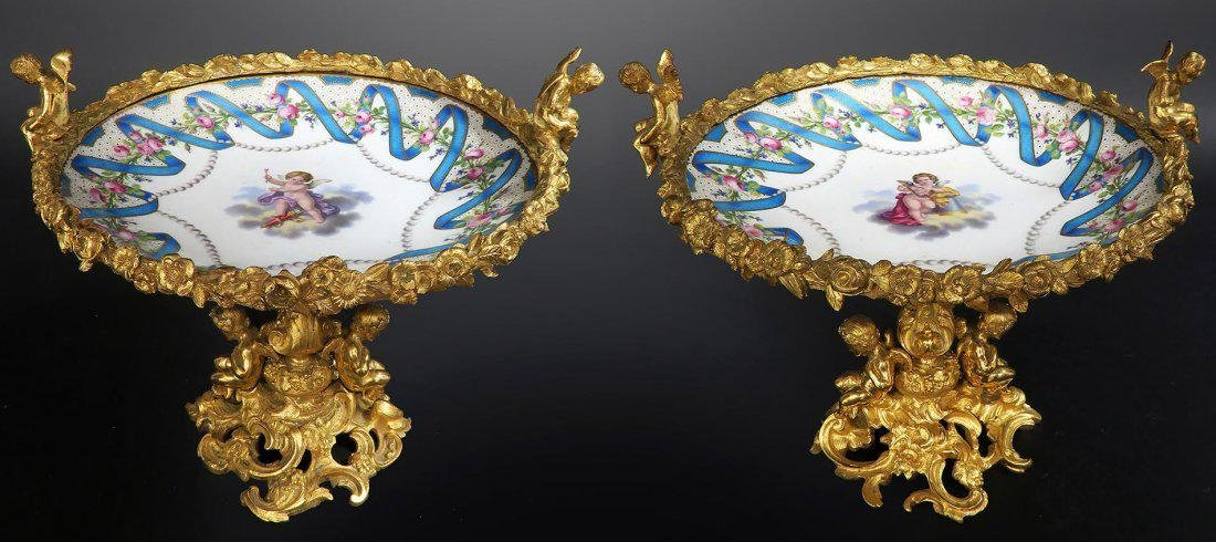 Pair of French Porcelain & Figural Bronze Compotes
