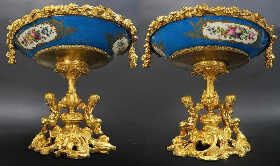 Pair of French Porcelain & Figural Bronze Compotes - 2