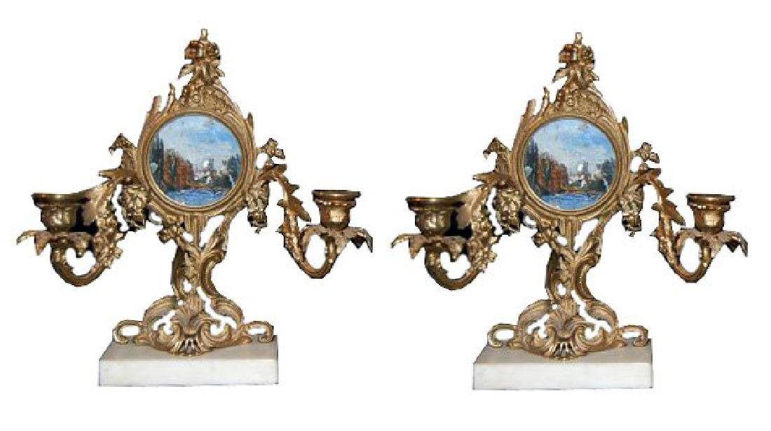 Pair of Gilt Bronze Candelabra