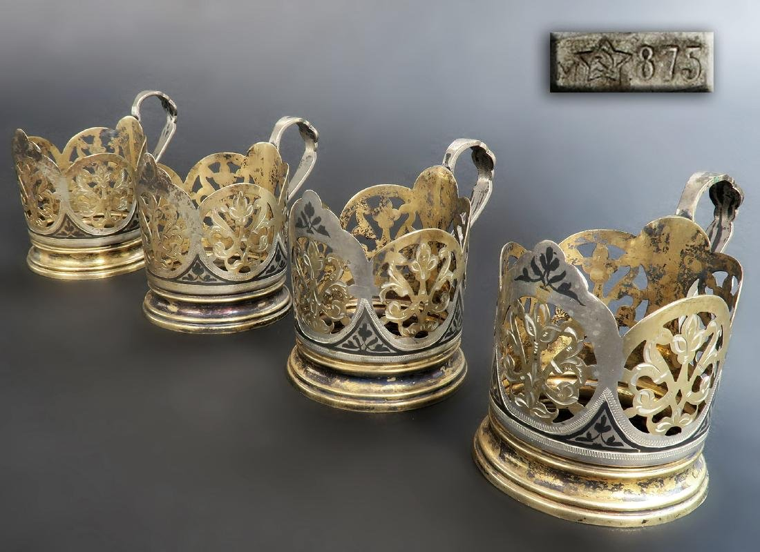 Set of Four Russian Silver Glass Holder