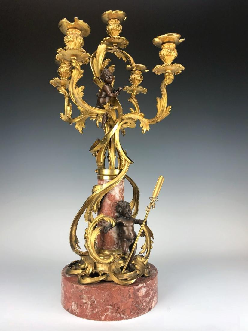 """Millet"" Pair of Figural Bronze & Marble Candelabras - 10"