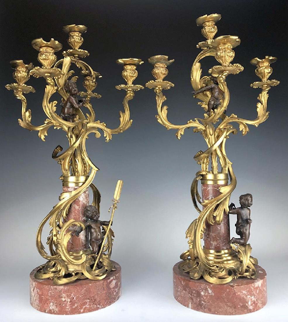 """Millet"" Pair of Figural Bronze & Marble Candelabras"