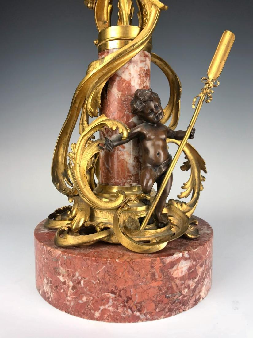 """Millet"" Pair of Figural Bronze & Marble Candelabras - 3"