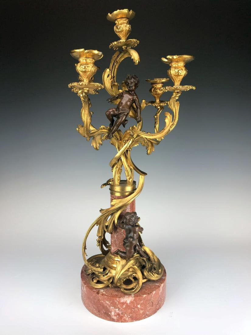 """Millet"" Pair of Figural Bronze & Marble Candelabras - 5"