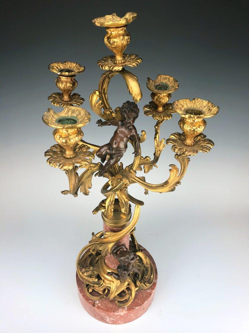 """Millet"" Pair of Figural Bronze & Marble Candelabras - 6"