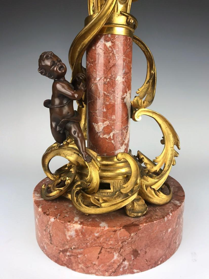 """Millet"" Pair of Figural Bronze & Marble Candelabras - 7"
