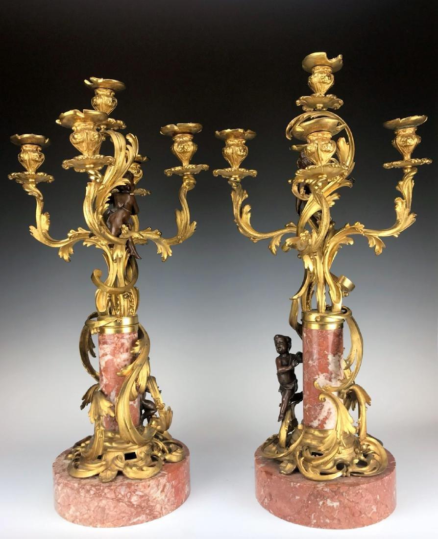 """Millet"" Pair of Figural Bronze & Marble Candelabras - 9"