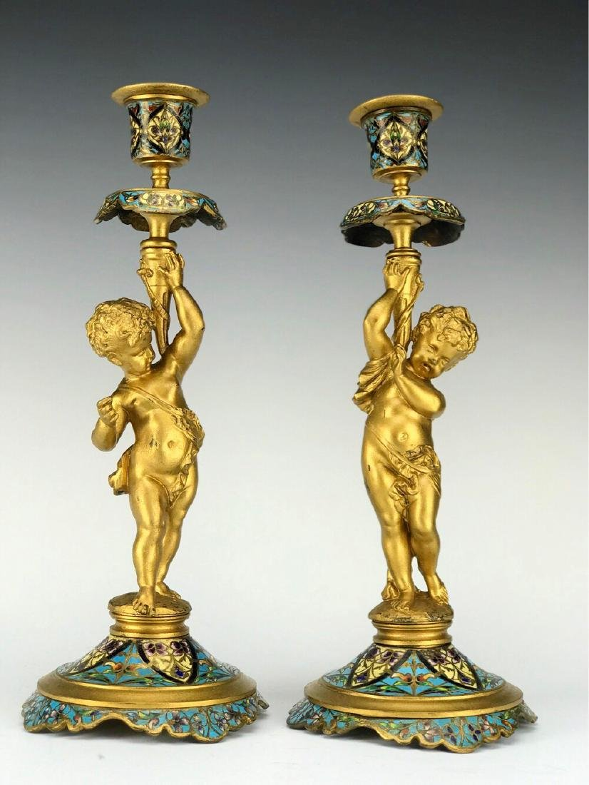 19th C. French Bronze & Champleve Enamel Candle Sticks
