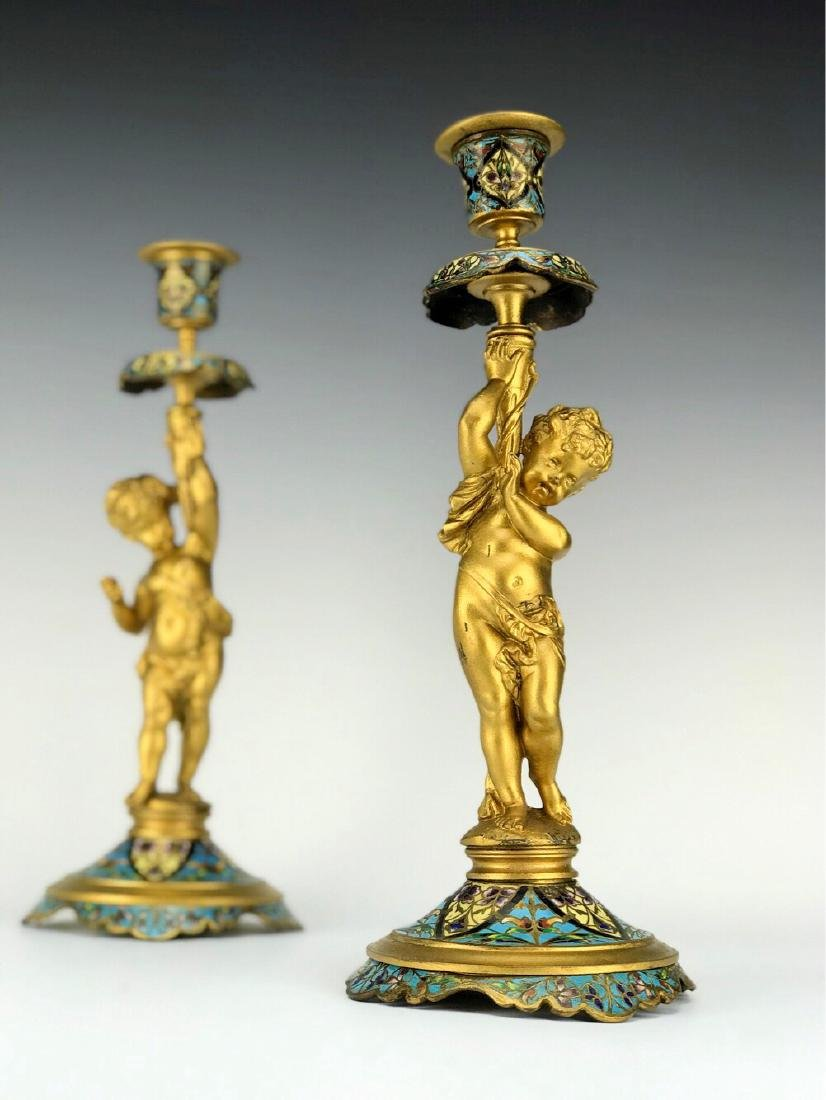 19th C. French Bronze & Champleve Enamel Candle Sticks - 2