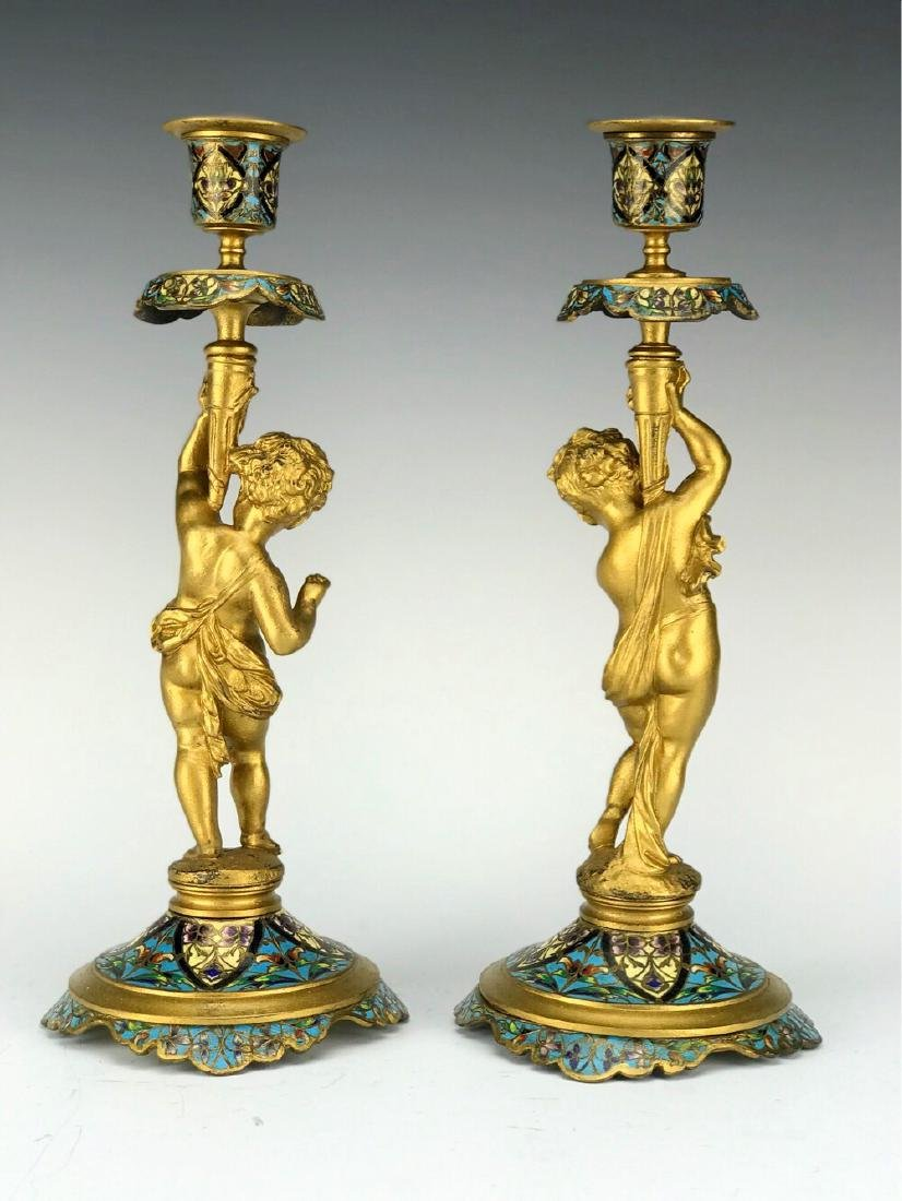 19th C. French Bronze & Champleve Enamel Candle Sticks - 3