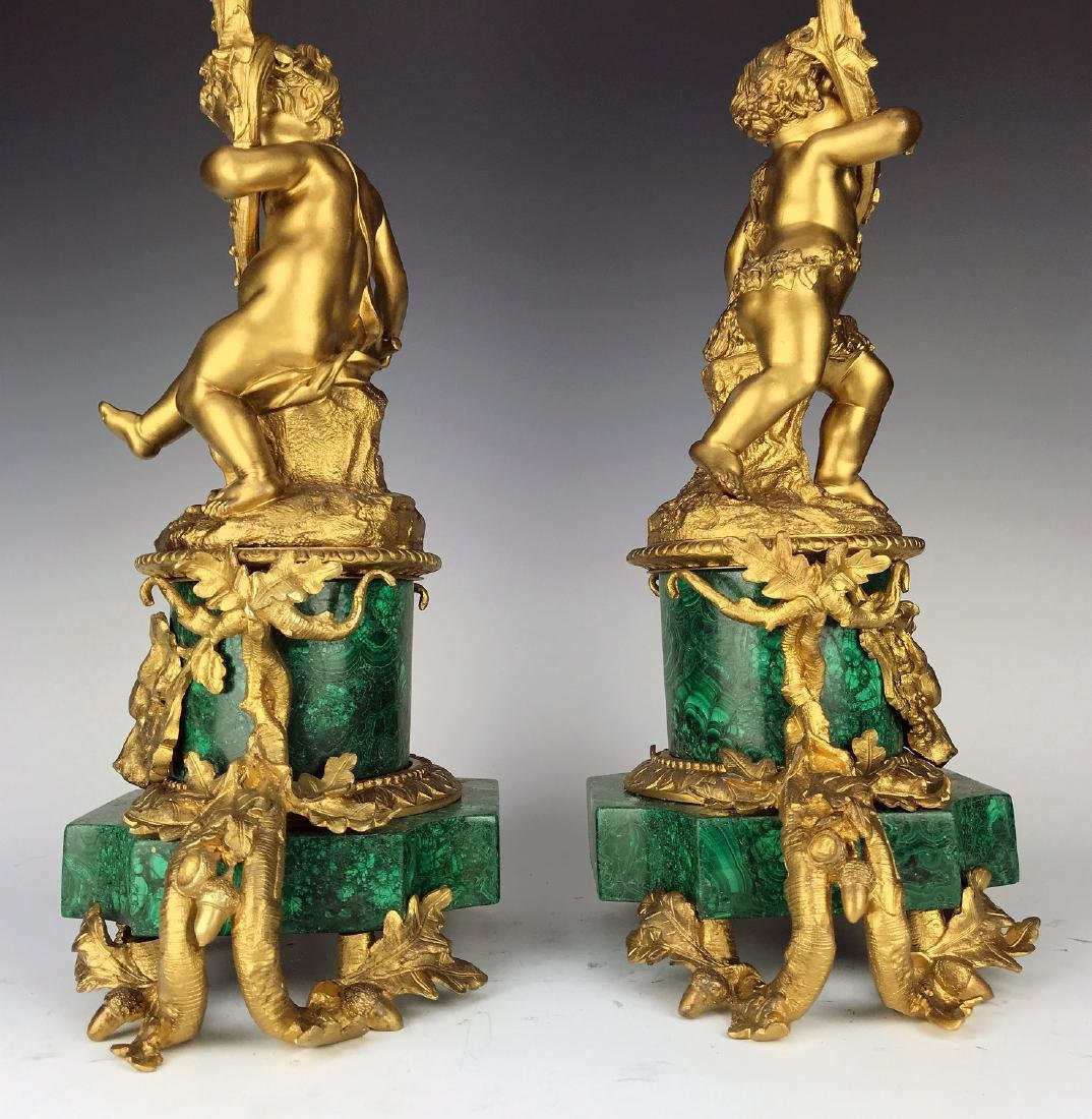 Fine Pair French Figural Bronze/Malachite Candelabras - 10