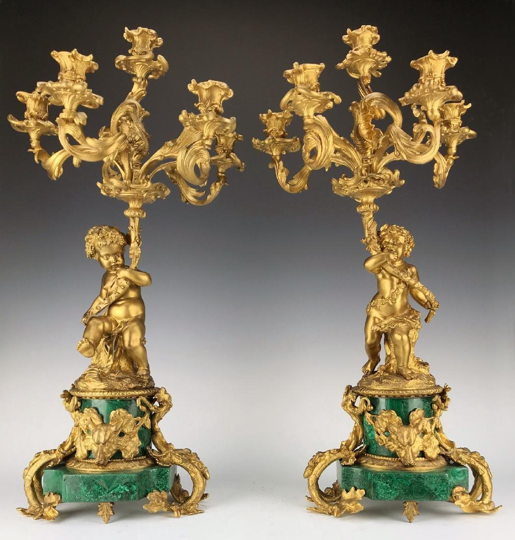 Fine Pair French Figural Bronze/Malachite Candelabras