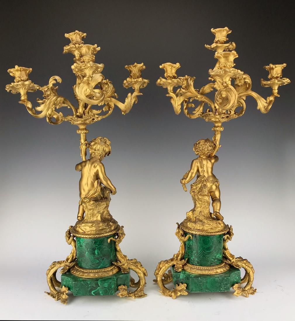 Fine Pair French Figural Bronze/Malachite Candelabras - 2