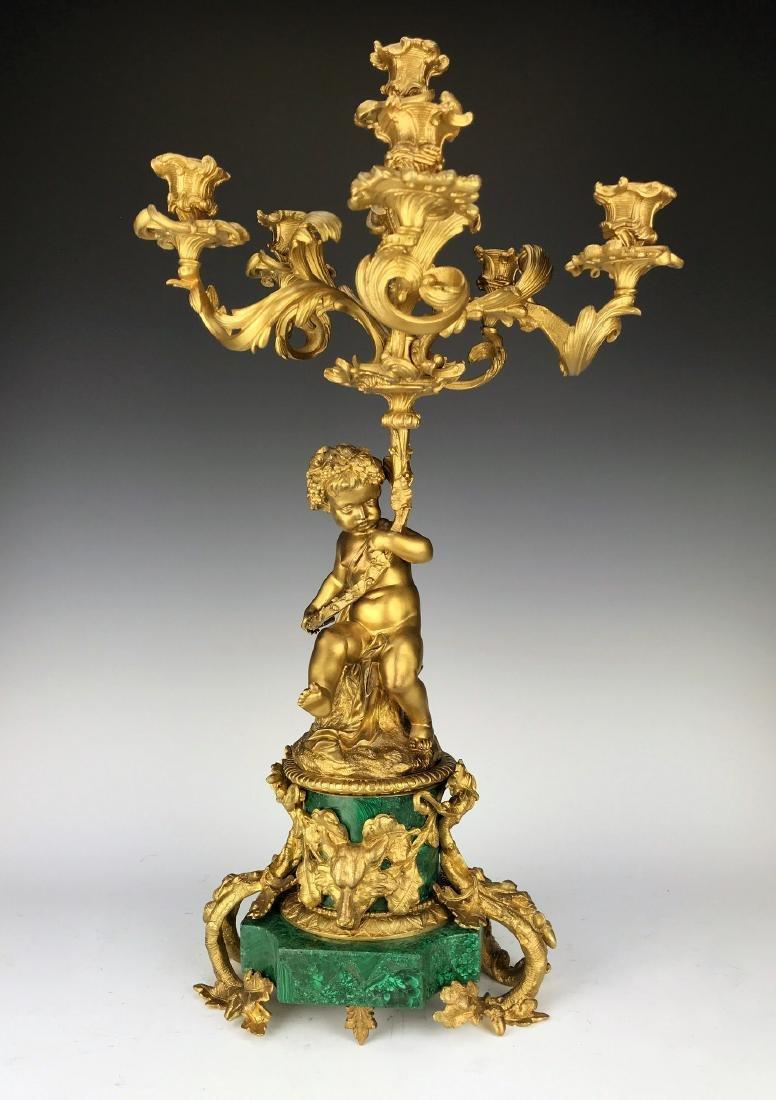 Fine Pair French Figural Bronze/Malachite Candelabras - 3