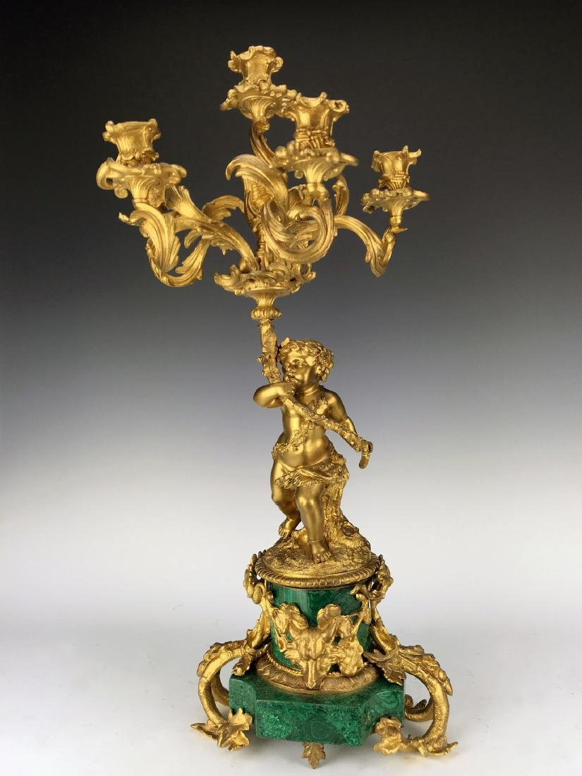 Fine Pair French Figural Bronze/Malachite Candelabras - 4