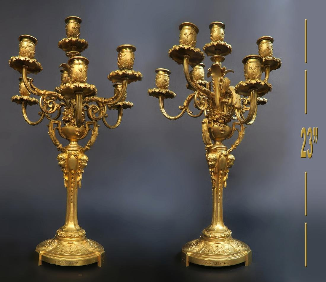 A Pair of French Figural Barbedienne Bronze Candelabras