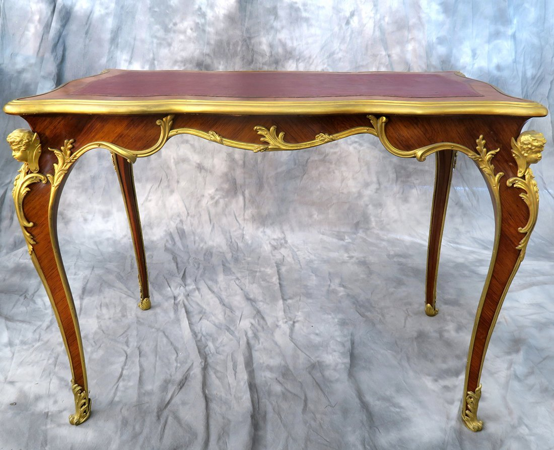 "19th C. ""F. Linke"" Signed Luis XV style Kingwood Table - 5"