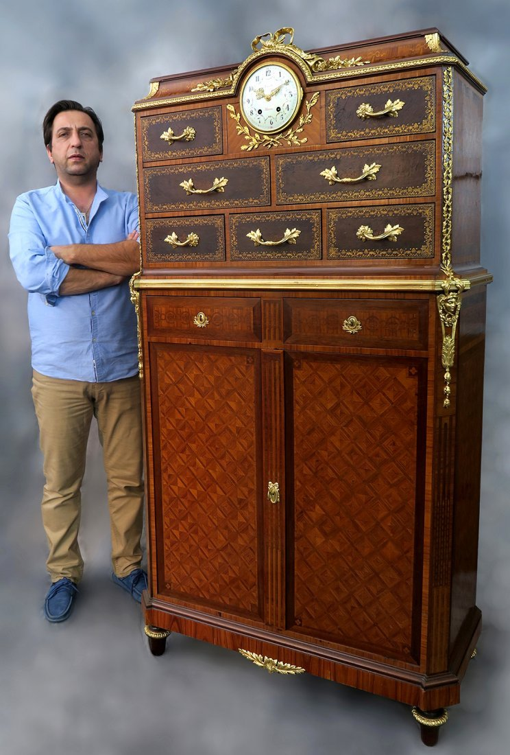 Maison Forest Paris Marquetry Clock Cabinet