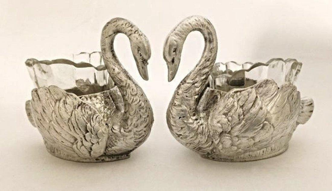 Beautiful Pair of 800 Silver Swan