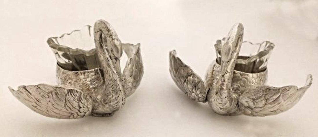 Beautiful Pair of 800 Silver Swan - 2