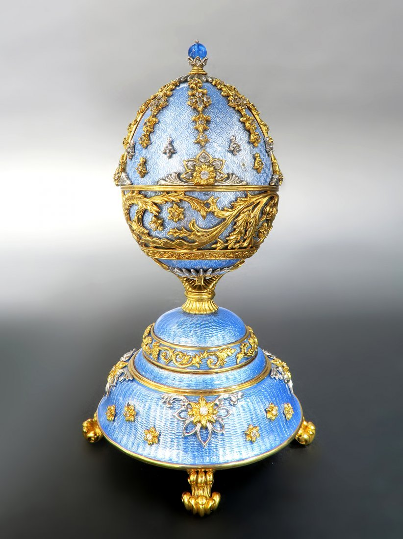 Faberge Sterling Silver & Gold Music Box Egg - 2