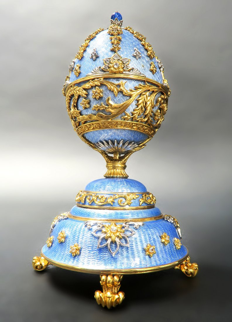 Faberge Sterling Silver & Gold Music Box Egg - 4