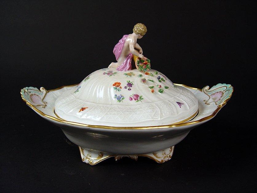 "19th C. German ""Meissen"" Hand Painted Porcelain Tureen"