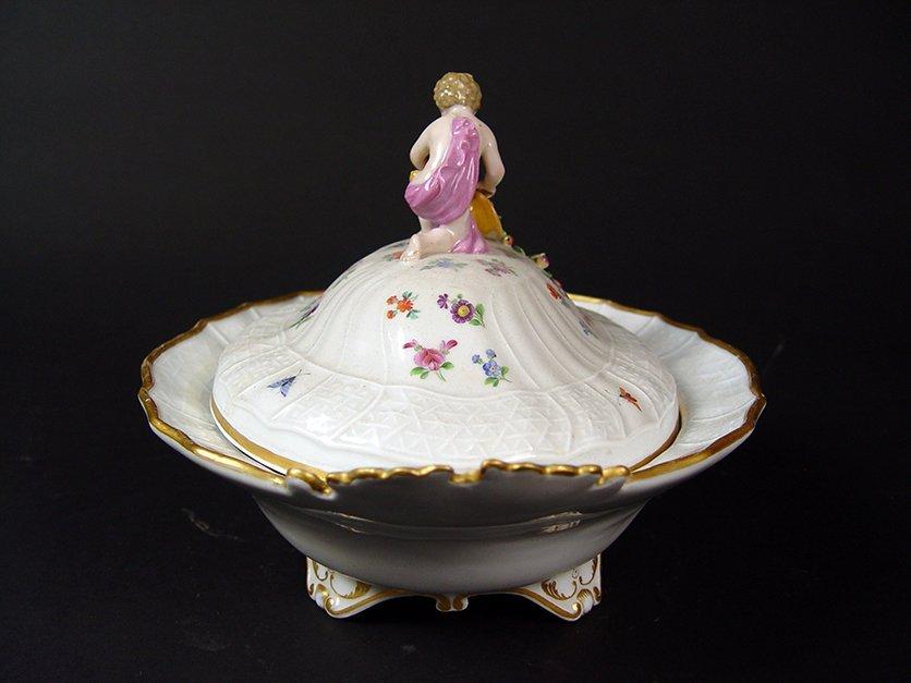 "19th C. German ""Meissen"" Hand Painted Porcelain Tureen - 4"