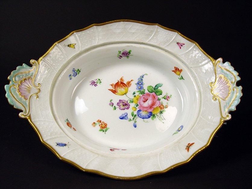 "19th C. German ""Meissen"" Hand Painted Porcelain Tureen - 6"