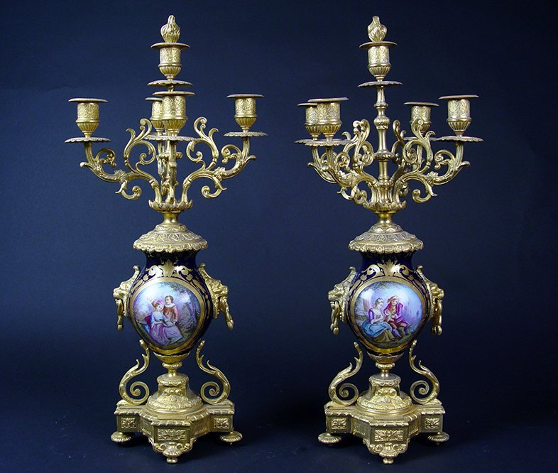 19th C. French Sevres Gilt Bronze Pair of Candelabras