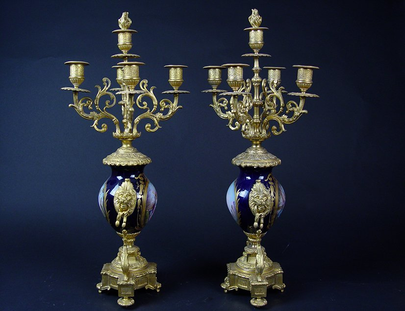 19th C. French Sevres Gilt Bronze Pair of Candelabras - 2