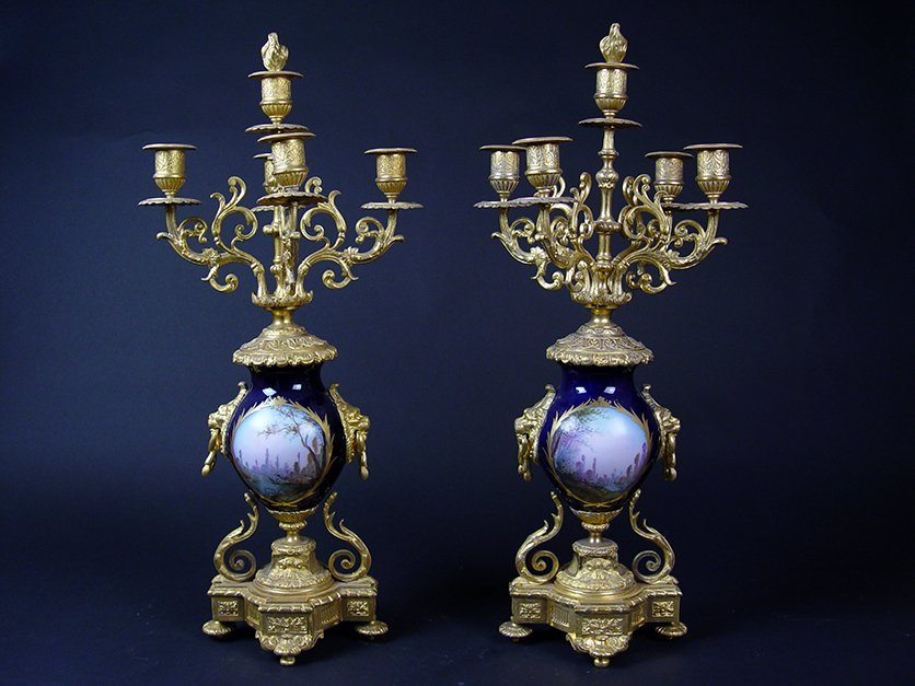 19th C. French Sevres Gilt Bronze Pair of Candelabras - 3