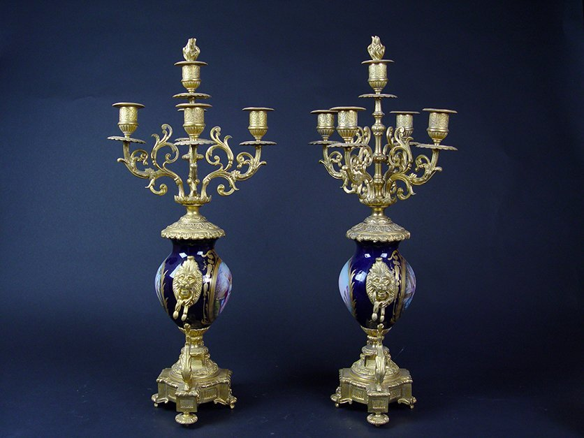 19th C. French Sevres Gilt Bronze Pair of Candelabras - 6